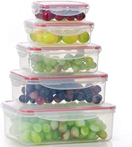 ColorSpring Plastic Food Storage Containers, Big Size Airtight Containers Set of 5(MB04-RE)
