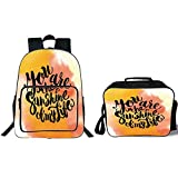 """iPrint 19"""" School Backpack & Lunch Bag Bundle,Quotes Decor,Retro Love Spouse Lettering Over Psychedelic Hazy Cloud Splashes Image,Orange Yellow,for Boys Girls"""