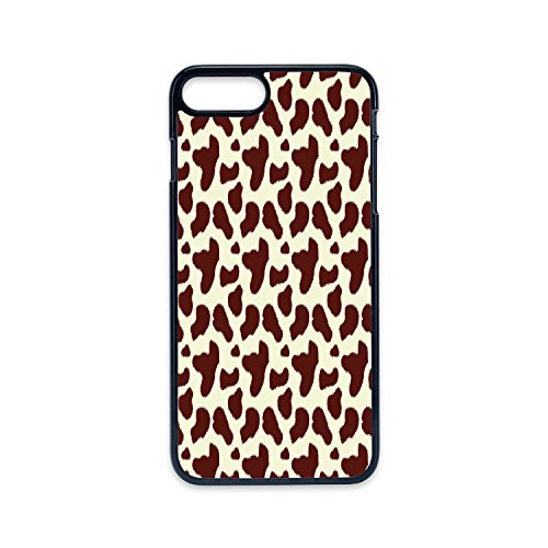 Phone Case Compatible with iPhone7 Plus iPhone8 Plus 2D Print Black Edge,Cow Print,Cattle Skin with Brown Spots Agriculture Cow and Oxen Hide Camouflage Pattern,White Brown,Hard Plastic Phone Case