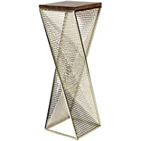 Kate and Laurel Elita Walnut Wood and Metal Pedestal End Table
