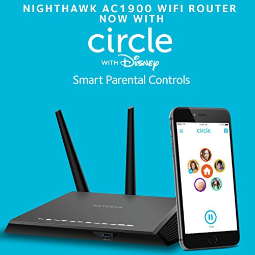 NETGEAR Nighthawk AC1900 Dual Band WiFi Gigabit Router (R7000) with Open Source Support | Circle with Disney Smart Parental Controls | Compatible with Amazon Echo/Alexa