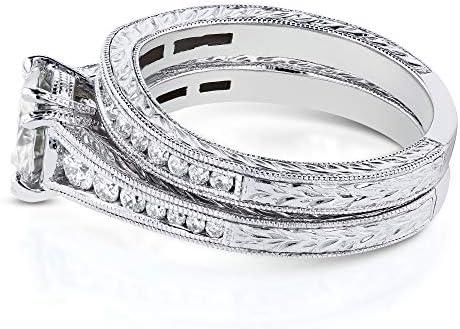 Kobelli Near-Colorless (FG) Moissanite Channel Milgrain Bands Bridal Set 1-1/2 CTW in 14K White Gold
