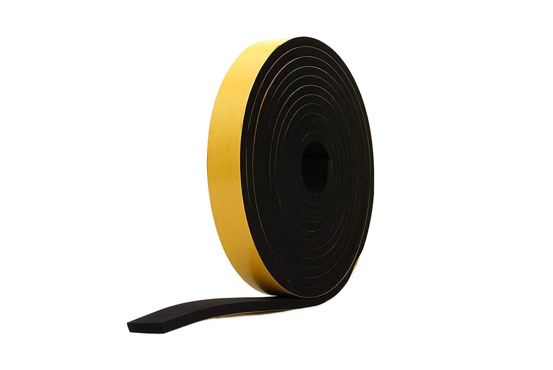 Neoprene Rubber Black Self-Adhesive Sponge Strip 1//2 Wide x 5//16 Thick x 16 feet Long
