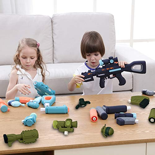 QUQUMA 100 in 1 Magnetic Toy Gun for Kids Girls Boys Over 100 Models with Sound Lights (Cartoon 1)