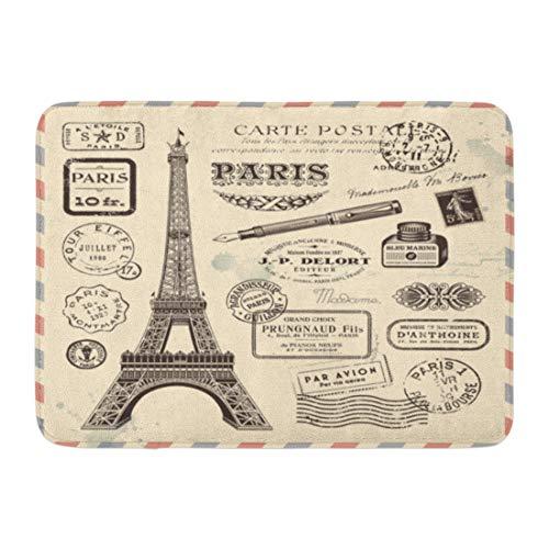 """Emvency Doormats Bath Rugs Outdoor/Indoor Door Mat French Paris Postage Stamp Vintage Tower Eiffel Travel Bathroom Decor Rug Bath Mat 16"""" x 24"""""""