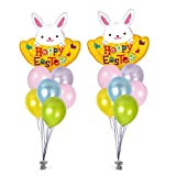 Spring Happy Easter Giant Bunny Balloon Bouquet ft. 30 Pcs Bright Pastel Metallic Color Pink Blue Green Yellow Purple Latex Balloons 12'' & Balloon Curling Ribbons for Easter Party (Pack of 1, Combo 1)