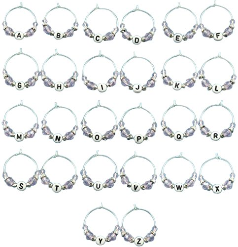 Potomac Banks Acrylic Wine Glass Charms (Comes with Free How to Live Stress Free Ebook) (26 Alphabet) (Good Luck Wedding Charms)