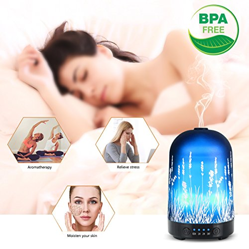 Aromatherapy Essential Oil Diffuser 100ml Glass Fragrance Lavender Cold Mist Humidifier Waterless Automatic Shutdown 7 Colour LED Lights 4 Timed Settings For Home Office Yoga Spa ?- ¡ by PUSEAYZ (Image #2)