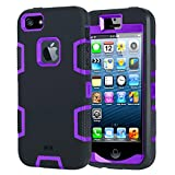 Image of iPhone SE Case, iDoer Heavy Duty Three Layers Hybrid Combo Shockproof Scratch-Resistant Rugged Bumper Silicone Protective Cover Cases For iPhone 5 5S SE - Black Purple
