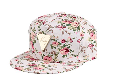 (Yonala Fashion Floral Snapback Hip-Hop Hat Flat Peaked Baseball Cap for Four Seasons Beige)