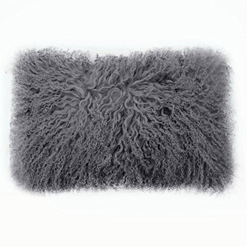 C.F. Inspirations Tibetan Lamb Fur Lumbar Pillow Cover Single Sided Fur Charcoal 14
