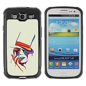 Planetar® ( Colorful Art Portrait ) Samsung Galaxy S3 III / i9300 i717 Hybrid Heavy Duty Shockproof TPU Fundas Cover Cubre Case