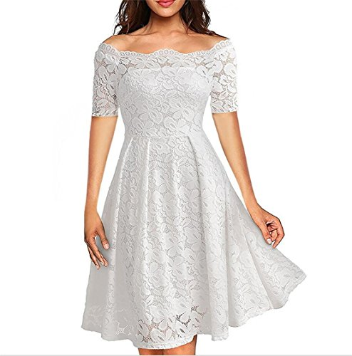 Fashion Women's Short Sleeve Off Shoulder Elegant Flared Lace Cocktail Party Dress White Plus Size