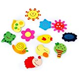 48pcs Colorful Wooden Cartoon Refrigerator Magnets for Children--Various Shapes and Colors, Lovely and Interesting