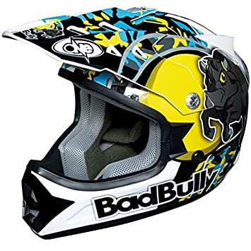 One Casco Moto Cross Infantil Bad Bully azul TG. S con Calotta de policarbonato y