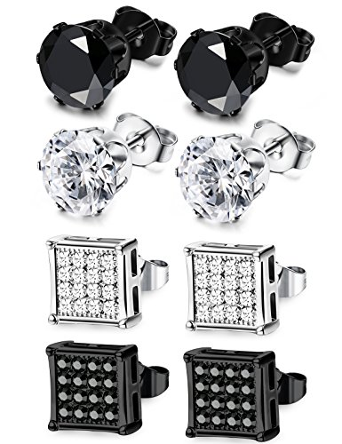 JOERICA 4 Pairs Stainless Steel Stud Earrings for Men Women Earrings CZ Inlaid 8mm