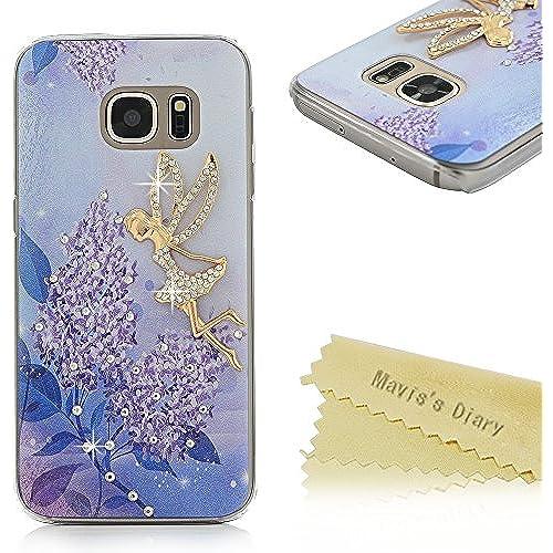 S7 Case,Galaxy S7 Case - Mavis's Diary 3D Handmade Bling Crystal Golden Butterfly Fairy Sparkle Diamonds with Sales