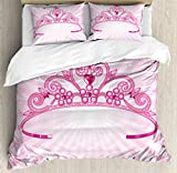Ambesonne Kids Duvet Cover Set Queen Size, Beautiful Pink Fairy Princess Costume Print Crown with Diamond Image Art, Decorative 3 Piece Bedding Set with 2 Pillow Shams