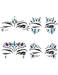 YHMALL 4 Sets Mermaid Face Gems Rhinestone Tattoo Festival Jewels Eyes Face Body Temporary Tattoos Glitter Temporary Tattoo Bindi Crystals Rainbow Tears Stickers