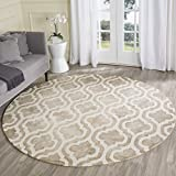 Cheap Safavieh Dip Dye Collection DDY537G Handmade Geometric Moroccan Watercolor Beige and Ivory Wool Round Area Rug (7′ Diameter)