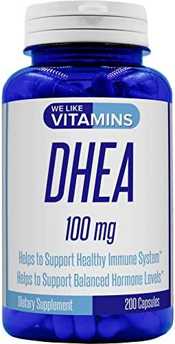 DHEA 100mg 200 Capsules (Non GMO & Gluten Free) - 200 Day Supply of DHEA Capsules - Helps with Hormone Balance and Energy Levels for Men & Women