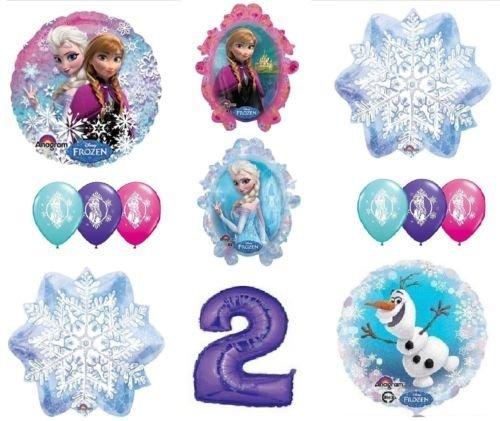 [LoonBalloon FROZEN Anna ELSA OLAF Snowman Snowflake 2nd #2 12 Birthday Party Balloons Set O] (2 Snowflake)