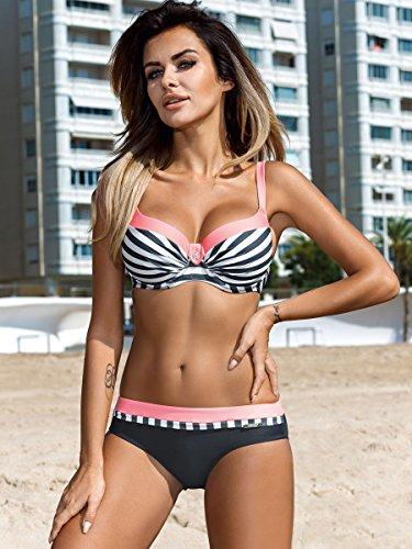 Sexy Bikini Beachwear Stile 1 Due Up Rosa Imbottito Costume Costumi Donna Pezzi Bikini da Push Mare Bagno Set B46wxq0E