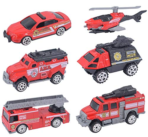 Die-cast Fire Truck Toy Set, 6 PCS Mini Fire Rescue Emergency Vehicles, Firefighting Engine, Helicopter, Educational Learning Car Toys, Gift for 3, 4, 5, 6 Year Old Boys, Girls, Toddlers, -