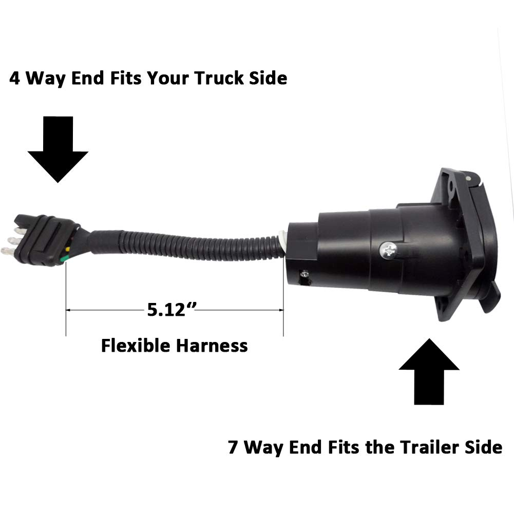 CARROFIX 7 Way Round Trailer Connector to 4 Way Flat Truck Reverse Plug with Mounting Bracket