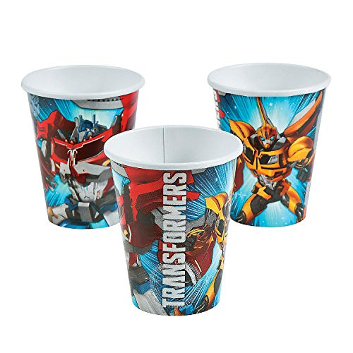 Fun Express - Transformers 9oz Cups for Birthday - Party Supplies - Licensed Tableware - Licensed Cups - Birthday - 8 Pieces (Ounce 9 Transformers Cups)