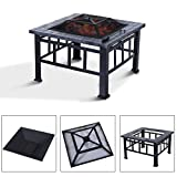 Lunarland Outsunny Outdoor Fire Pit Patio Fireplace Backyard Metal Burning Square Black
