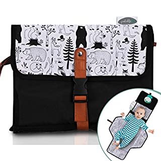 Frolickly Portable Changing Pad | Diaper Pocket Doubles as Pillow |33 by 21.5 Inch Baby Changing Mat | Waterproof Travel Changing Pad