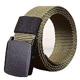 Hatoys Men's Dress Belt Nylon Waistband Canvas Web Belt Dazzling Outdoor Sports (Length:110CM/43.3', Black)