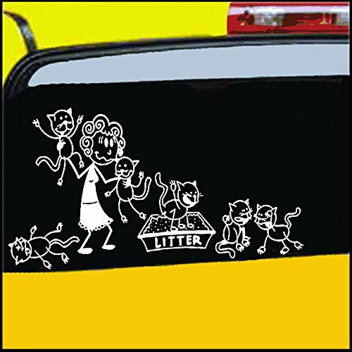 Stick Figure Cat - Nepa Designs Crazy Cat Lady Stick Figure Family Decal can be Applied to Any Surface Funny Vinyl Decal Sticker White in Color No Inks 100% Vinyl 8.5