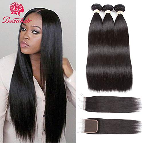Beauhair Brazilian Virgin Hair Straight Hair 3 Bundles With Closure(12 14 16+12 Closure) Free Part Natural Color 100% Unprocessed Straight Human Hair Weave Weft with Lace Closure Natural Black