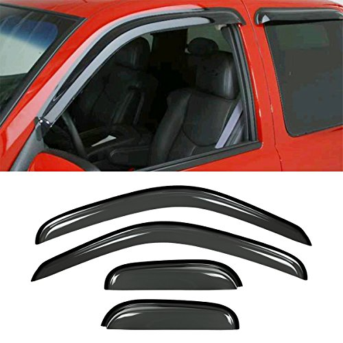 VIOJI New 4pcs For 95-04 Tacoma Access/Extended Cab Dark Smoke Out-Channel/Outside Mount Style Wind Sun Rain Guard Vent Shade Deflector Window Visors