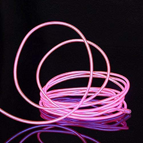 JinQiu 16.4ft Neon Glowing Strobing Electroluminescent EL Wire Light with Battery Pack Controller for Christmas,Halloween,Parties,Automotive,Advertisement Decoration Pink