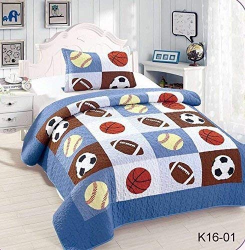 Golden Linens Twin Size Kids Bedspread Quilts for Teens Boys Printed Bedding Coverlet Sport American Football Basketball Baseball Multi color Light blue, Orange Light Brown #Twin 16-01 (Sports Twin Bedding)
