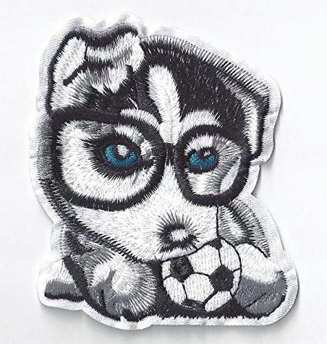 (Husky Patch Iron On, Dog Sequined Applique, Patch,Sequins Patch Supplies for Coat,T-Shirt,Costume Decorative Pug Bull Dog)