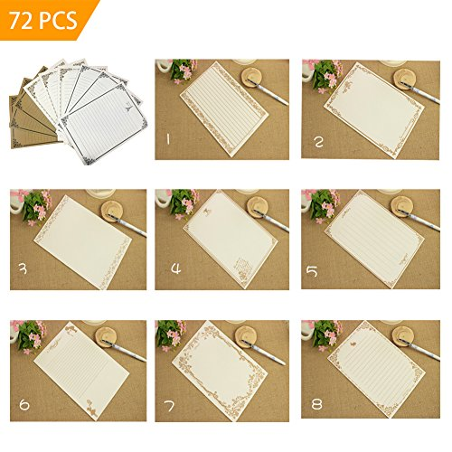 72 Pcs Vintage Letter Paper in 8 Different Cute Design, Antique Style Paper, Writing Stationery Paper Pad (White + Light Gold + Khaki)