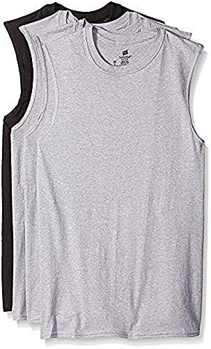 Hanes Men's Sport Styling Cotton Sleeveless T-Shirts w/ Cool DRI 4-Pack (XX-Large (50-42