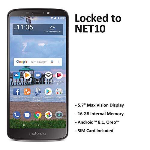 Net10 Motorola Moto e5 4G LTE Prepaid Smartphone (Locked) - Black - 16GB - Sim Card Included - CDMA