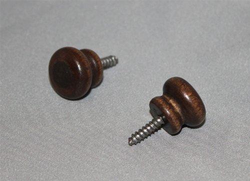 Walnut Wood Piano Desk Knobs with Screws - 1 Pair - Furniture Repair