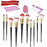 Makeup Brush Set, Beauty Star 10PCS Unicorn Makeup Brushes Black Handle Red&White Bristle Foundation Blending Eyeshadow Blush Cosmetic Brush Set with Washing Board and Lash Brush