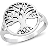 DTPSilver - 925 Sterling Silver Round Tree of Life Ring