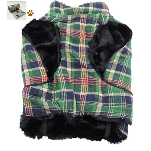 Alpine Cold Weather Flannel Plaid Fur Lined Pinned Dog Coat with Bags Set - (5XL - Chest 37-40'', Neck 30-32'', Back 30'', Green/Blue) by DOGGIE DESIGN (Image #2)