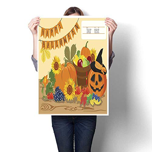 Wall hangings Happy Halloween Message Design Background Vector Illustration Decorative Fine Art Canvas Print Poster K 24