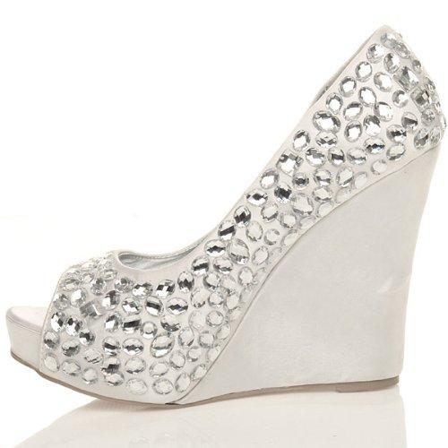 Ajvani Womens ladies high heel wedge gems diamante evening prom peep toe shoes platform sandals size White Z8LPNm