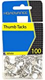 HQ Advance Products Boxable Thumbtacks, White, 100-Count Box (46107)