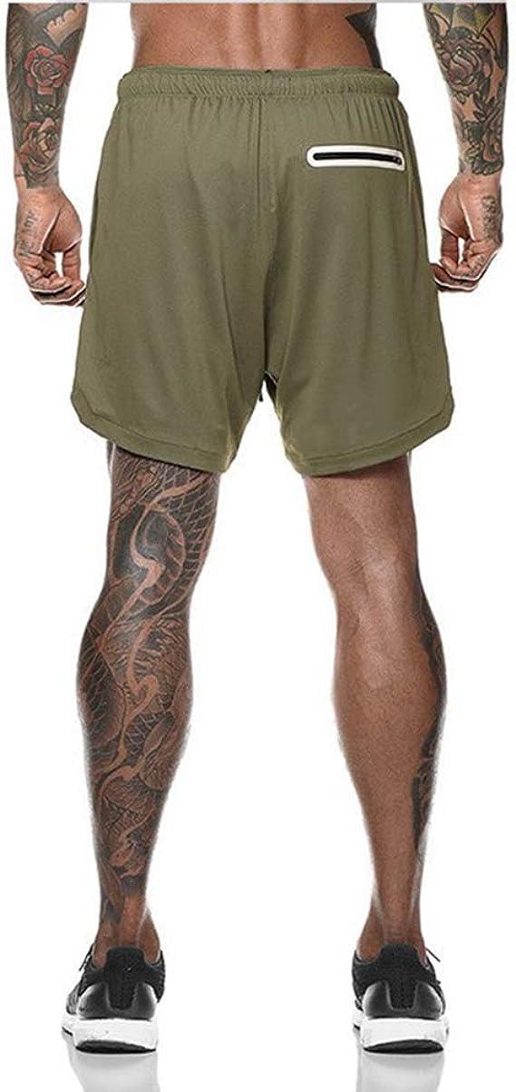 XuyIeY Pantaloncini da Running Sportivi Pantaloncini da Allenamento 2 in 1 con Compressione Interna e Tasca per Uomo